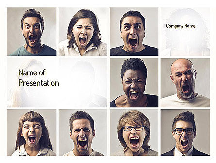 Screaming People PowerPoint Template