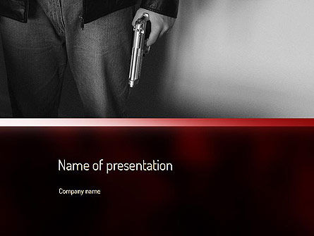 Man Holding a Gun PowerPoint Template, 11168, Legal — PoweredTemplate.com