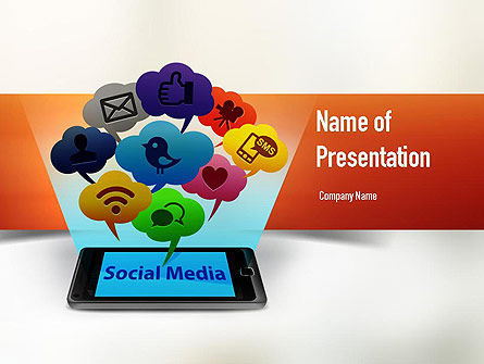 Technology and Science: Social Media on Smartphone PowerPoint Template #11177