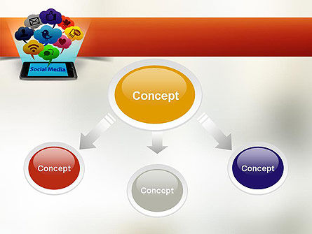 Social Media on Smartphone PowerPoint Template, Slide 4, 11177, Technology and Science — PoweredTemplate.com