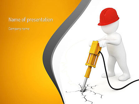 Jackhammer Worker PowerPoint Template, 11183, Construction — PoweredTemplate.com