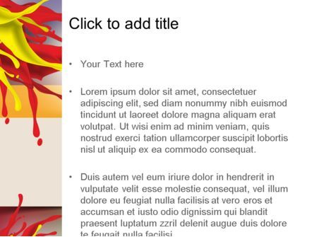 Red and Yellow Splash Paint PowerPoint Template, Slide 3, 11196, Abstract/Textures — PoweredTemplate.com