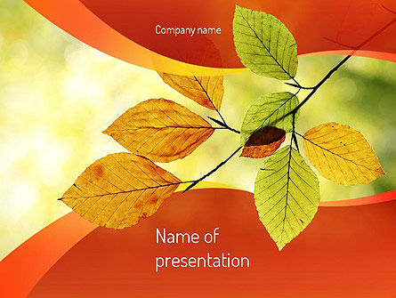 Nature & Environment: Branch with Yellow Leaves PowerPoint Template #11208