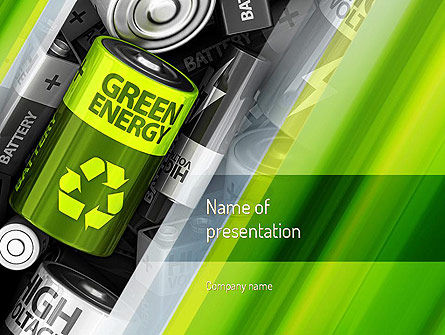 Technology and Science: Green Energy Battery PowerPoint Template #11224