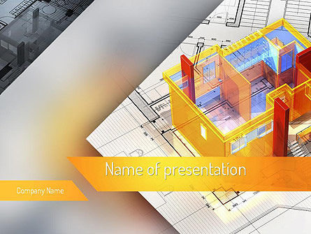 Construction: 3D House Draft PowerPoint Template #11232