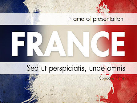 France Presentation PowerPoint Template, 11256, Flags/International — PoweredTemplate.com