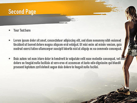Woman Hiker with Backpack PowerPoint Template, Slide 2, 11276, Sports — PoweredTemplate.com