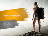 Sports: Woman Hiker with Backpack PowerPoint Template #11276