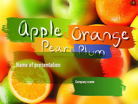 Vivid Fruits PowerPoint Template, 11279, Food & Beverage — PoweredTemplate.com