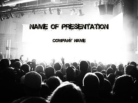 Silhouettes of Concert Crowd PowerPoint Template, 11294, Art & Entertainment — PoweredTemplate.com