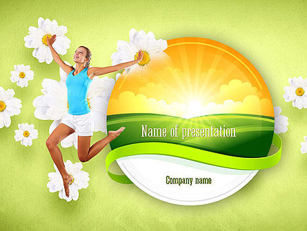 Happy Jumping Girl PowerPoint Template, 11299, People — PoweredTemplate.com
