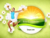 People: Happy Jumping Girl PowerPoint Template #11299