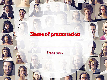 Beautiful Faces Collage PowerPoint Template, 11308, People — PoweredTemplate.com