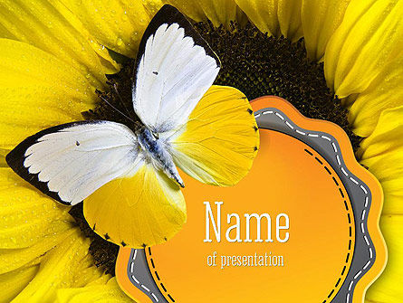 Nature & Environment: Butterfly on Sunflower PowerPoint Template #11322