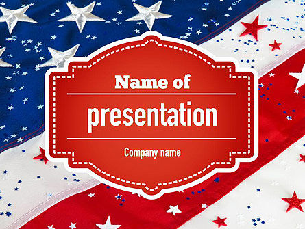 Festive American Flag PowerPoint Template, 11323, Holiday/Special Occasion — PoweredTemplate.com