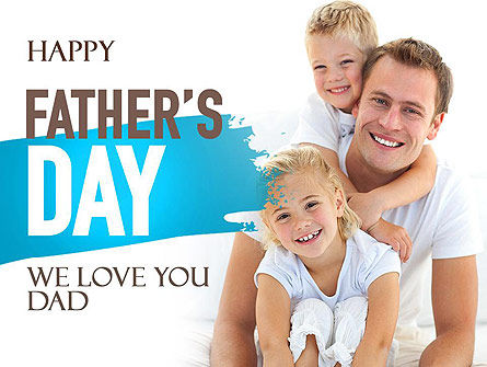 People: Father's Tenderness PowerPoint Template #11325