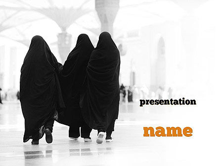 Religious/Spiritual: Makkah Kaaba Hajj Muslims PowerPoint Template #11330