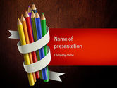 Education & Training: Modelo do PowerPoint - cacho colorido lápis #11332