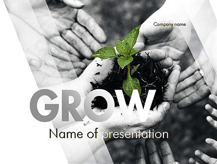 Sprout In Careful Hands PowerPoint Template