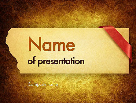 Paper with Red Ribbon PowerPoint Template