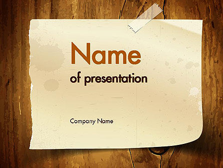 Note Paper With Adhesive Tape PowerPoint Template