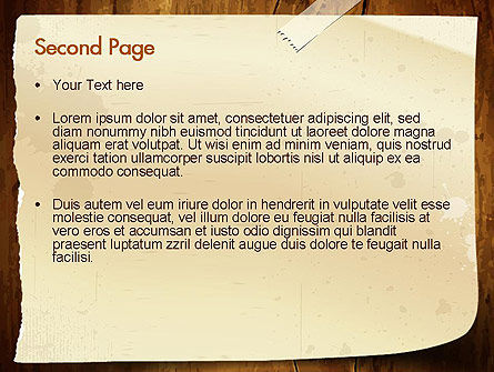 Note Paper With Adhesive Tape PowerPoint Template Slide 2