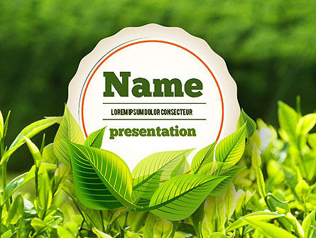 Agriculture: Young Tea Leaves PowerPoint Template #11382