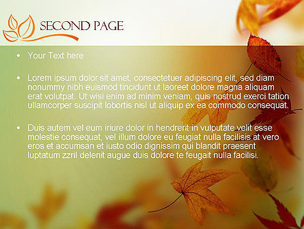 Falling Leaves Theme PowerPoint Template, Slide 2, 11387, Nature & Environment — PoweredTemplate.com