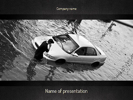 Cars and Transportation: Car Flood PowerPoint Template #11393
