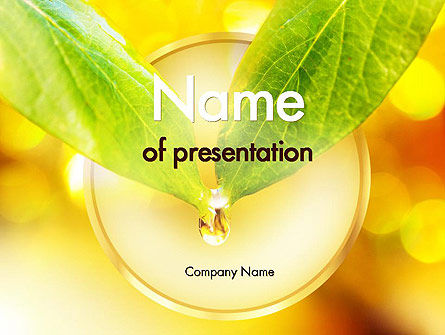 Nature & Environment: 葉の水滴 - PowerPointテンプレート #11404
