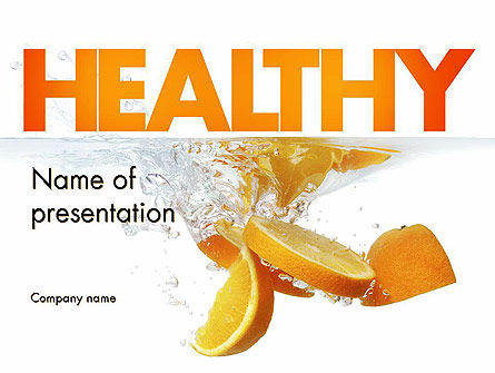 Food & Beverage: Orange Splash in Water PowerPoint Template #11407