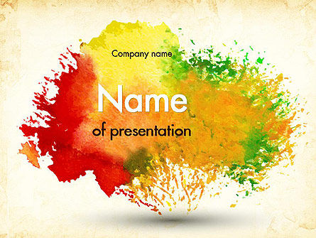 Art & Entertainment: Colorful Watercolor Stains PowerPoint Template #11414
