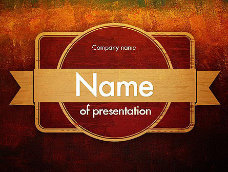 Beige Ribbon on Red Background PowerPoint Template