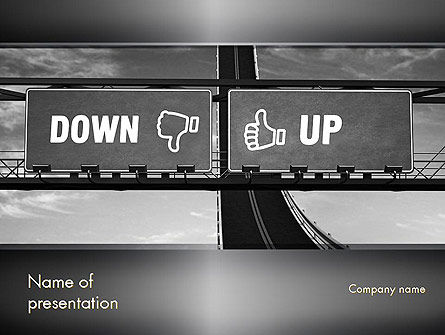 Up and Down Highway Signs PowerPoint Template, 11423, Business Concepts — PoweredTemplate.com