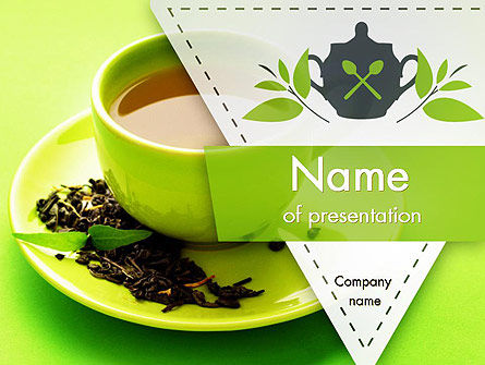 Green Tea Cup PowerPoint Template