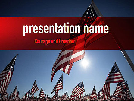 Large Group of American Flags PowerPoint Template