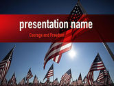 America: Large Group of American Flags PowerPoint Template #11444