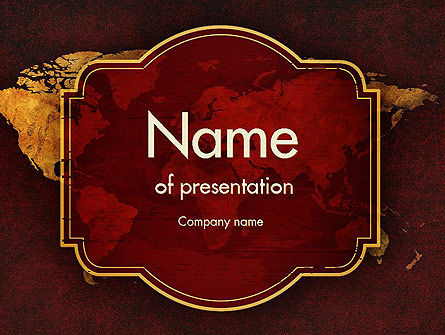 vintage style world map powerpoint template backgrounds 11447