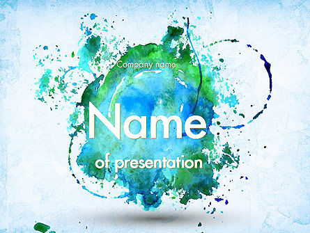 Turquoise Watercolor Stains PowerPoint Template, 11456, Abstract/Textures — PoweredTemplate.com