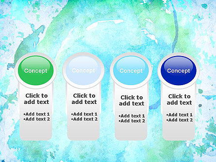 Turquoise Watercolor Stains PowerPoint Template Slide 5