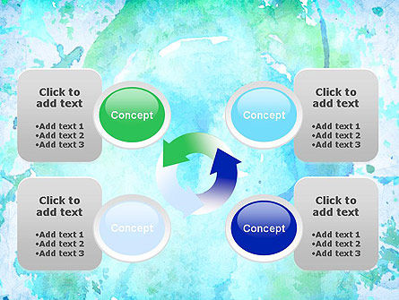 Turquoise Watercolor Stains PowerPoint Template Slide 9