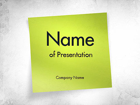 Green Sticky Note Powerpoint Template, Backgrounds | 11476