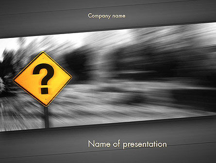 Question Mark Road Sign PowerPoint Template, 11493, Education & Training — PoweredTemplate.com