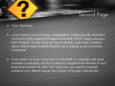 Question Mark Road Sign PowerPoint Template Slide 2