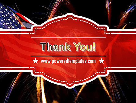 American Flag with Fireworks PowerPoint Template Slide 20