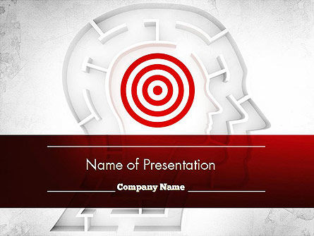 Shaped Human Head Maze with Target PowerPoint Template, 11518, Medical — PoweredTemplate.com