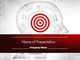 Medical: Shaped Human Head Maze with Target PowerPoint Template #11518