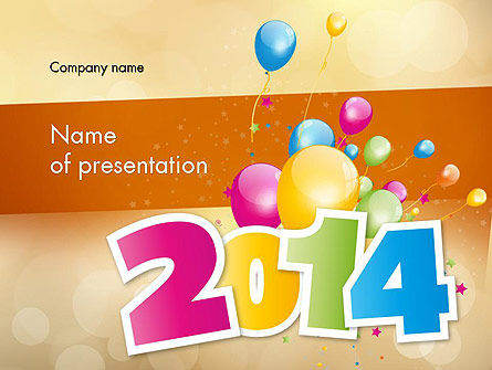 Colorful Happy New Year 2014 PowerPoint Template, 11519, Holiday/Special Occasion — PoweredTemplate.com