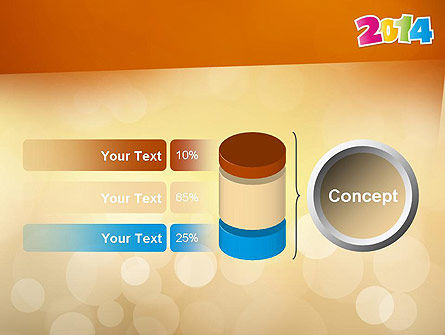 Colorful Happy New Year 2014 PowerPoint Template Slide 11