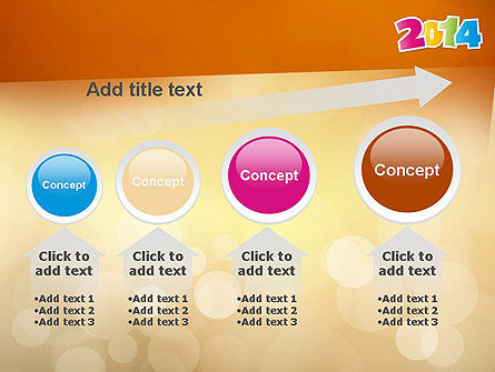 Colorful Happy New Year 2014 PowerPoint Template Slide 13